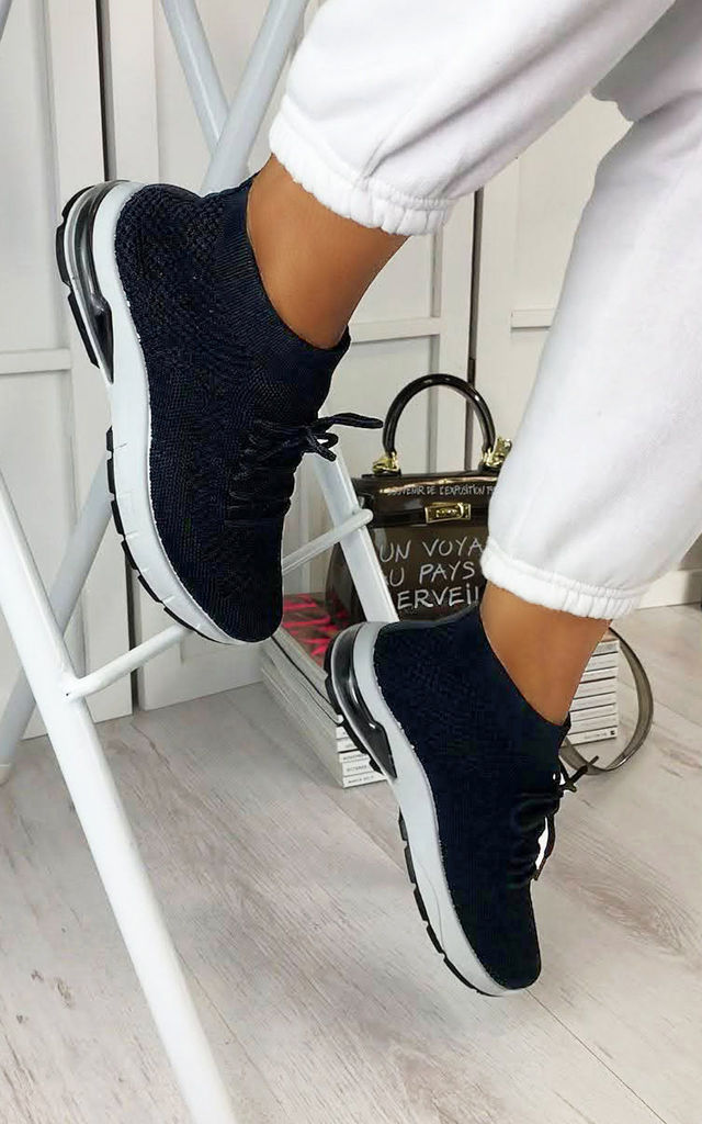 Kaia High Top Sock Trainers in Black by Larena Fashion