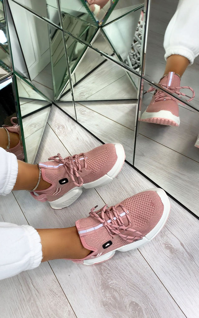 Calista Lace Up Sock Trainers in Pink by Larena Fashion