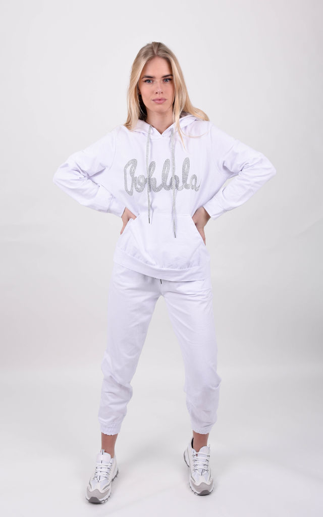 White Oohlala Slogan Hoodie & Jogger Co-ord Set by Boutique Store