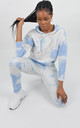 Blue Tie Dye Drawstring Hoodie by Boutique Store