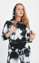 Black Tie Dye Drawstring Hoodie by Boutique Store