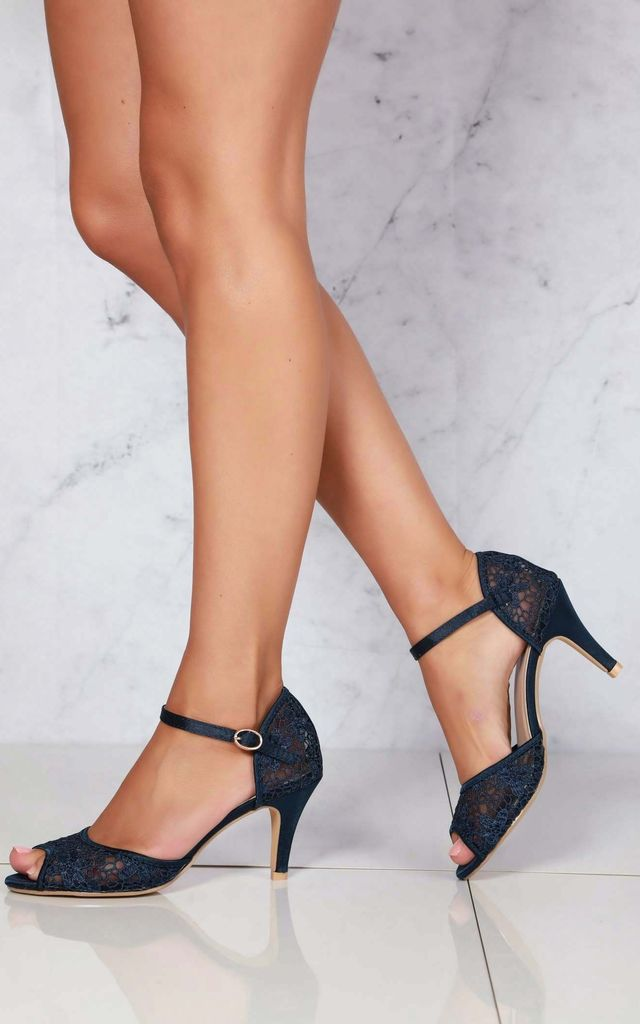 Myrana Lace Anklestrap Sandal In Navy by Miss Diva