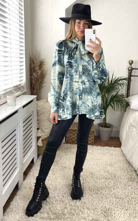 Tie Dye High Bow Neck Oversized Shirt In Green by Gini London Product photo