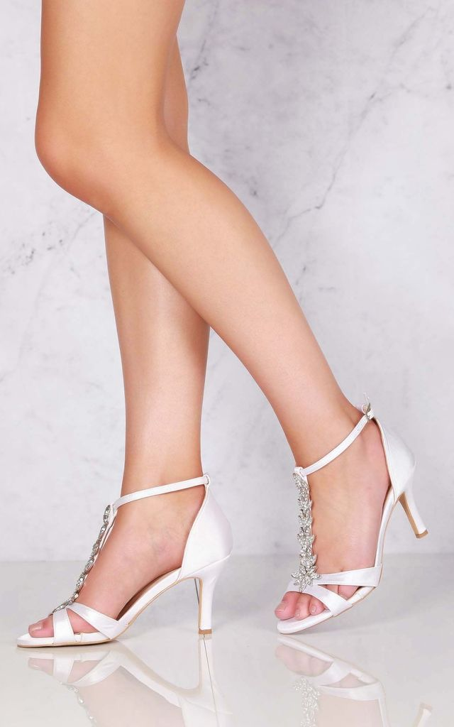 Momentous Satin Open Toe Flower In Ivory Satin by Miss Diva