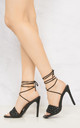 Lola Quilted Open Toe High Heel Lace Up Sandal In Black by Miss Diva