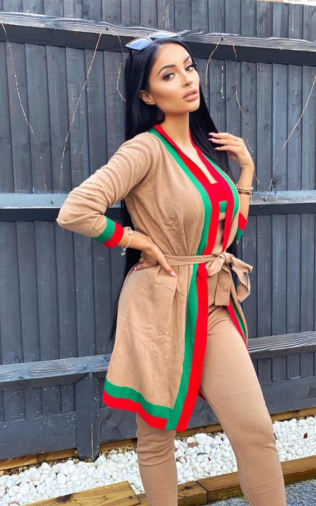 Zara Taupe Tan Red and Green Striped Fine Knit 3 Piece Lounge Co-ord Set by Nazz Collection