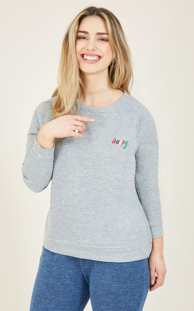 Happy Slogan Sweatshirt In Grey Marl by Yumi