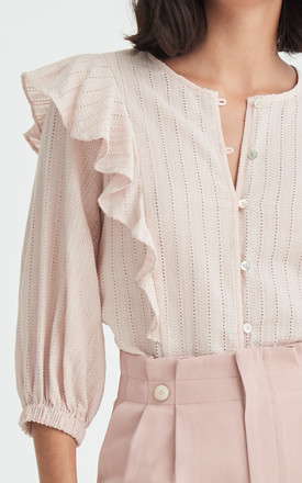 Saint Broderie Frilled Blouse in Light Pink by Paisie