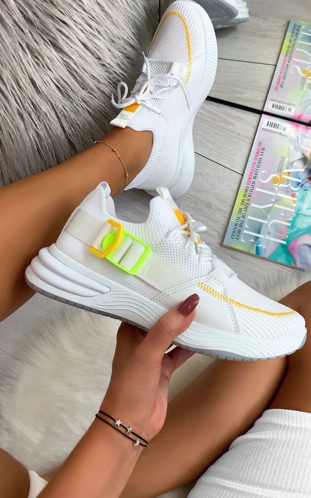 Camelia Sock Pull Up Trainers in White by Larena Fashion