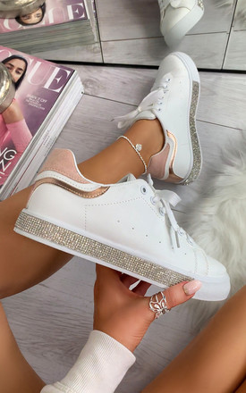 Leilani Diamante Panel Trainers in Pink by Larena Fashion