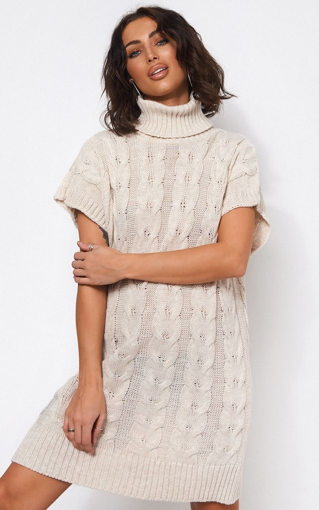 ZOLA BEIGE POLO NECK JUMPER DRESS by TFB
