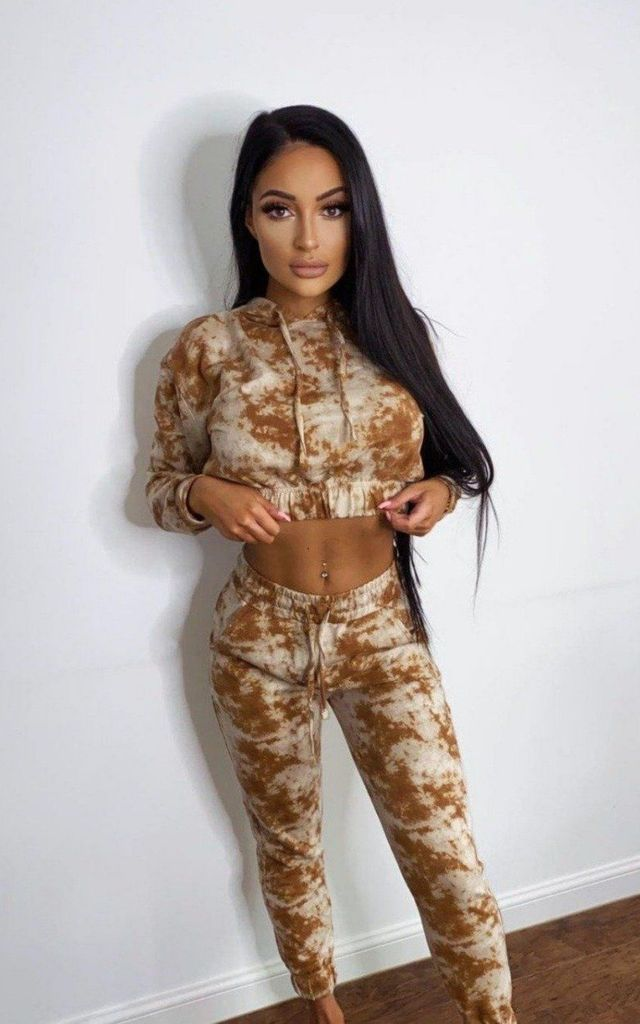 Haven Camel and Beige Two Tone Tie Dye 2 Piece Tracksuit Set by Nazz Collection