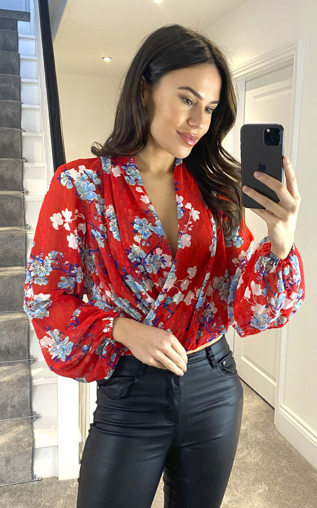 Goddiva Wrap Style Long Sleeve Floral Top in Red by Goddiva