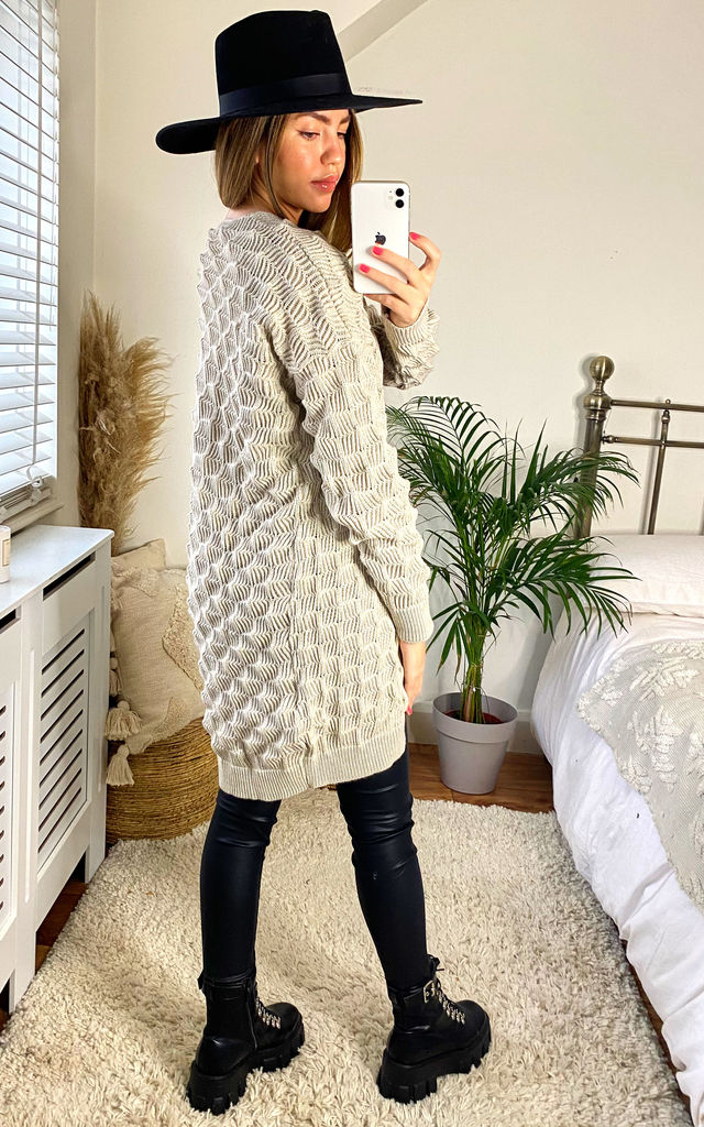 Louisa Cream Crochet Effect Cardigan by Faux