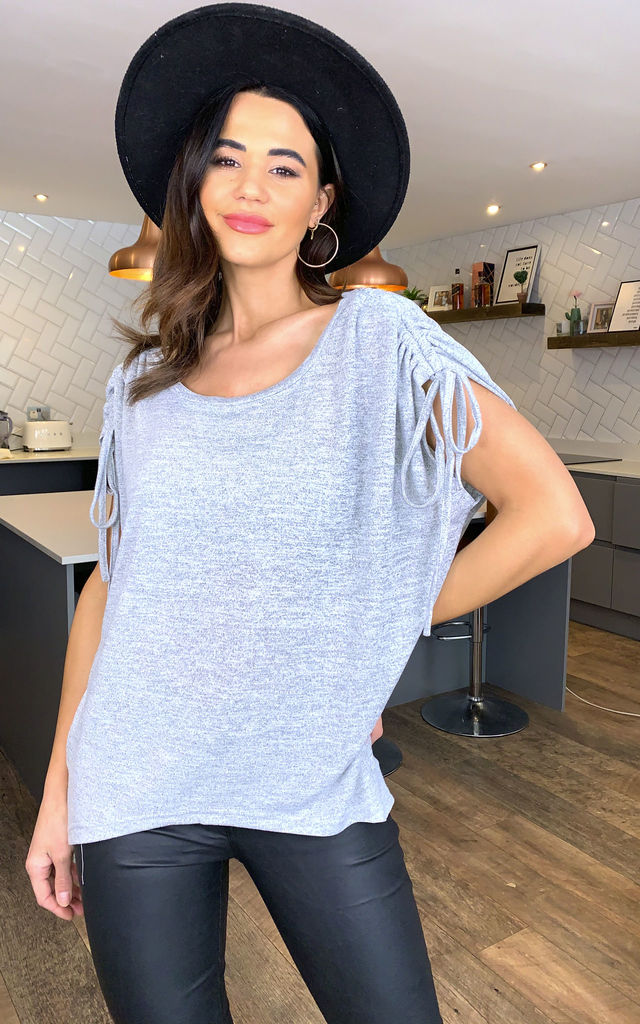 Ameera Drawstring Rushed Sleeve Top In Grey by Blue Vanilla