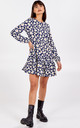 Thalia Balloon Sleeve Tiered Smock Dress In Navy by Blue Vanilla