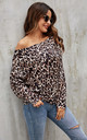 Black Animal Print Long Sleeve Top In Beige by FS Collection