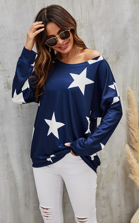 Oversized Star Print Top In Navy by FS Collection Product photo