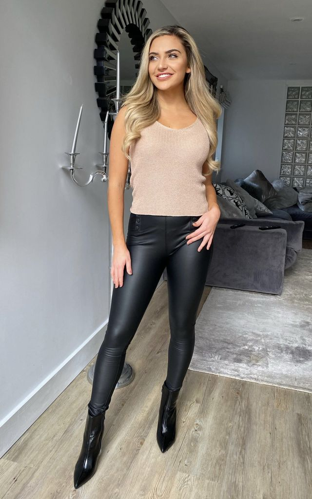 Greta Coated High Waist Jeggings in Black by Miss Diva
