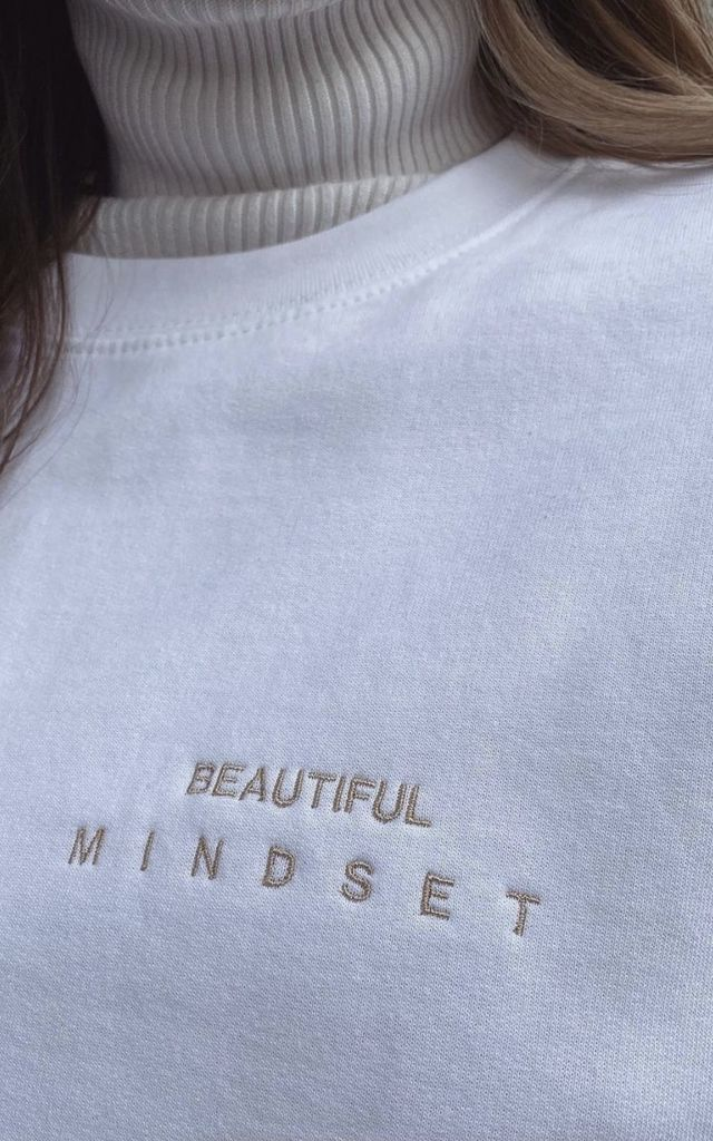 White Beautiful Mindset Sweatshirt by Meraki Design LDN