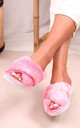 Free Pink Tie Dye Print Fluffy Crossover Slippers by Linzi