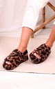 Comfy Brown Leopard Fluffy Slingback Slippers With Platform Sole by Linzi