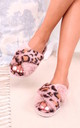 Free Pink Leopard Print Fluffy Crossover Slippers by Linzi