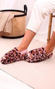 Comfy Pink Leopard Fluffy Slingback Slippers With Platform Sole by Linzi