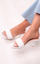 Gracie White Faux Leather Plaited Design Square Toe Mule by Linzi