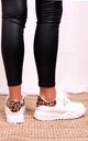 Porto White Faux Leather Platform Embossed Sole Trainer With Leopard Back by Linzi