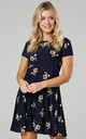 Maternity & Nursing Swing Dress in Dark Navy with Flowers by Chelsea Clark