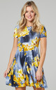Maternity & Nursing Swing Dress in Graphite & Yellow Flowers by Chelsea Clark