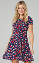 Maternity & Nursing Swing Dress in Navy with Small Red Roses by Chelsea Clark