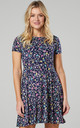 Maternity & Nursing Swing Dress in Navy with Multi Flower Print by Chelsea Clark