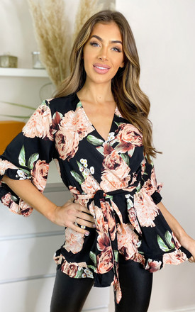 Black Rose Print Frill Wrap Top by AX Paris Product photo