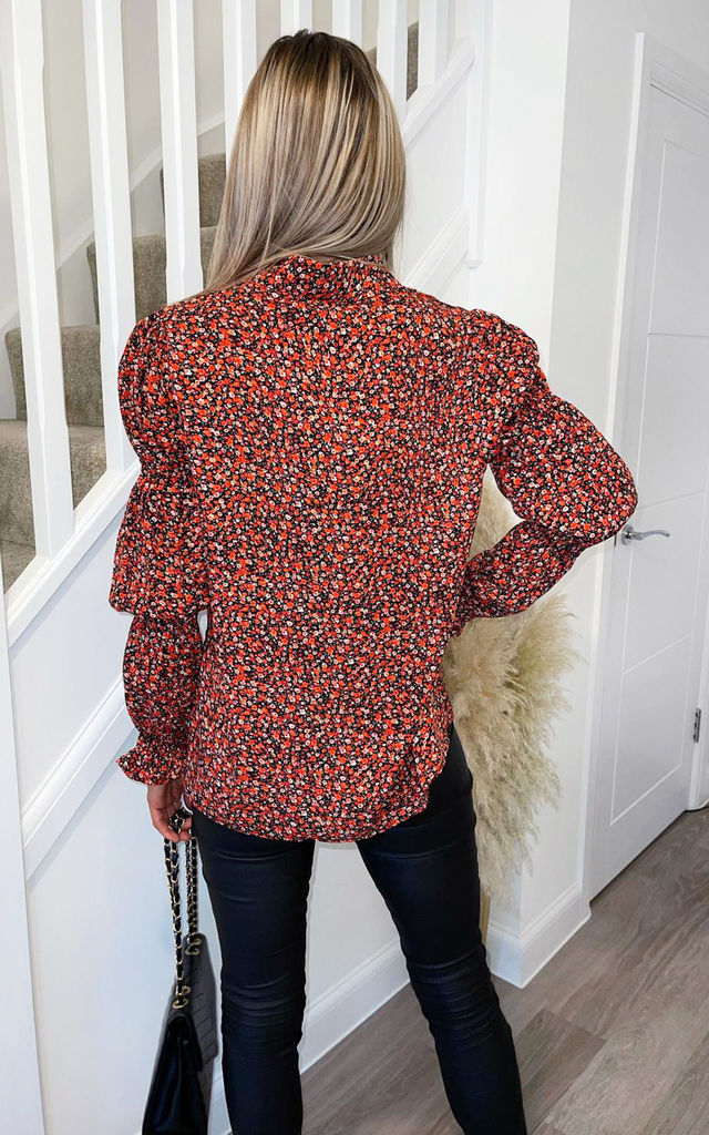 Red Ditsy Floral Grouped Sleeve Shirt by AX Paris