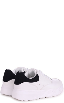 Porto White Faux Leather Platform Embossed Sole Trainer With Black Suede Back by Linzi