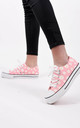 Pink Daisy Print Canvas Lace Up Trainers by Boutique Store