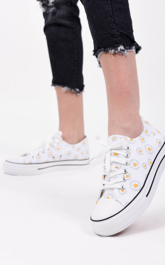 White Daisy Print Canvas Lace Up Trainers by Boutique Store
