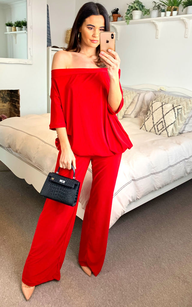 Luxury loungewear Plain red palazzo pants with plain red off shoulder bow top (co ord) by Mccullock Women