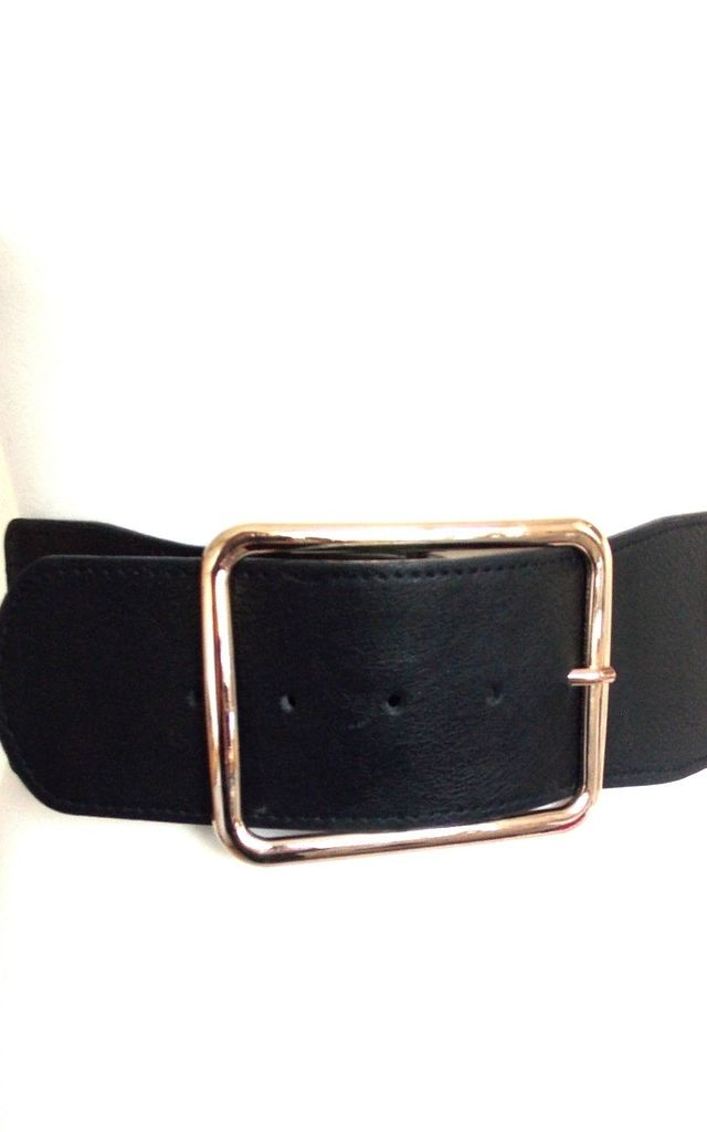 Wide Black Stretch Belt with Gold Square Buckle by Olivia Divine Jewellery