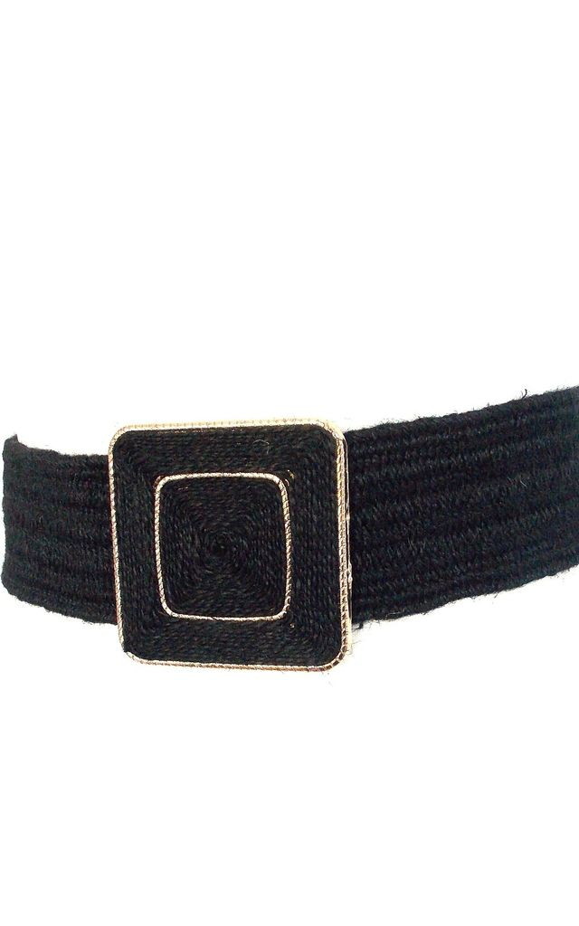 Black Square Buckle Stretch Style Belt by Olivia Divine Jewellery