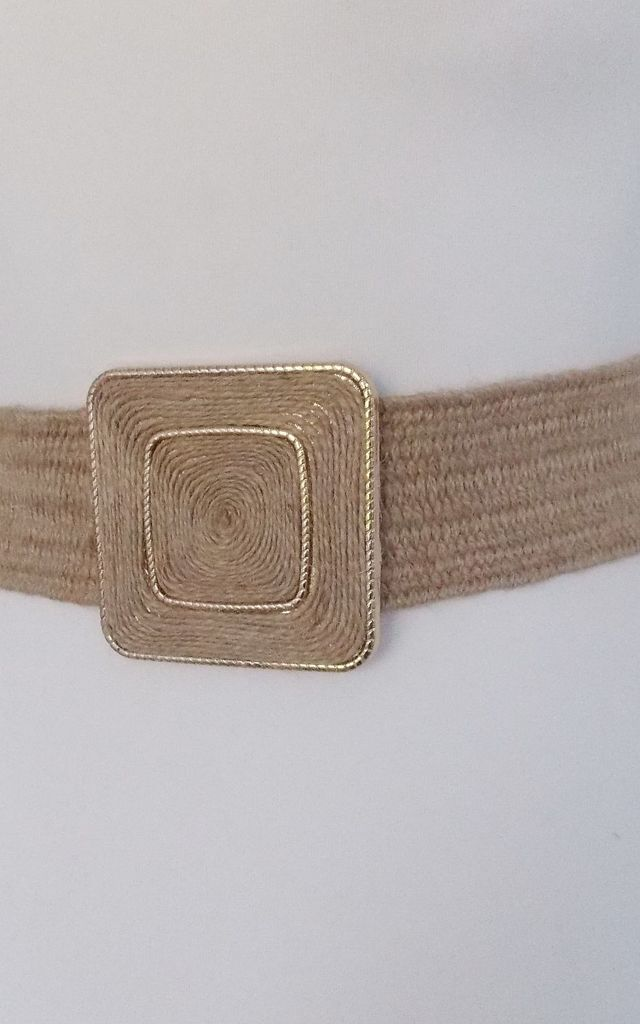 Natural Beige Square Buckle Stretch Belt by Olivia Divine Jewellery