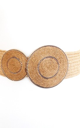 Natural Beige Raffia Double Circle Buckle Stretch Belt by Olivia Divine Jewellery