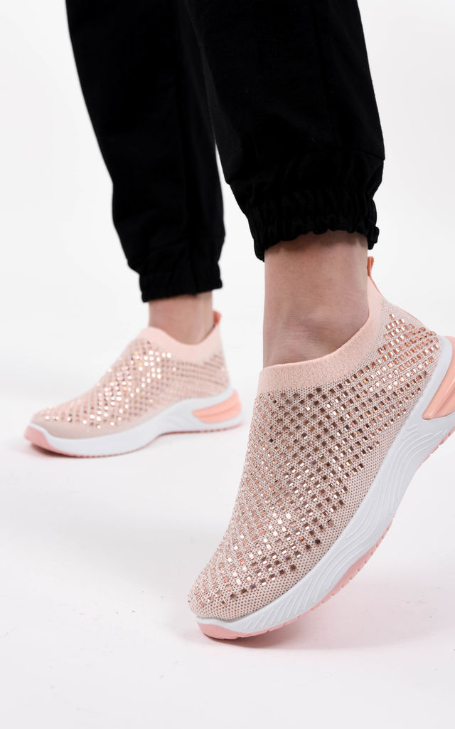 Pink Studded Slip On Sock Trainer by Boutique Store