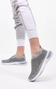 Grey Studded Slip On Sock Trainer by Boutique Store