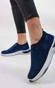 Navy Studded Slip On Sock Trainer by Boutique Store