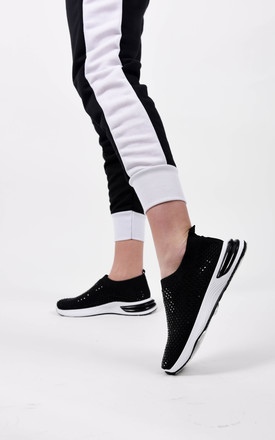 Black Studded Slip On Sock Trainer by Boutique Store