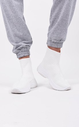 White Chunky Knitted Sock Trainer by Boutique Store