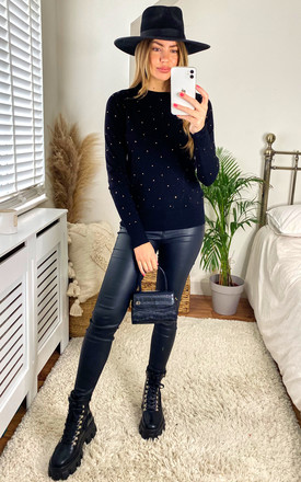 Gabi Black Diamond Embellished Jumper by Faux